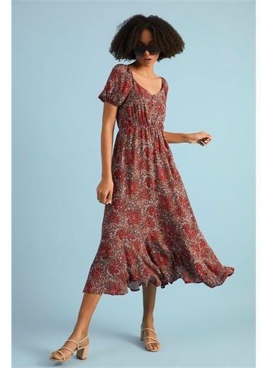 Z Giyim Kadın  Bej  Önü Düğmeli Geniş Yaka Elbise Kırmızı
